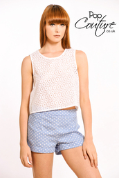 tank top,crop tops,blue shorts,polka dot shorts,broderie anglaise,white broderie anglaise,embroidered,white crop tops,polka dots,Pop Couture,shorts
