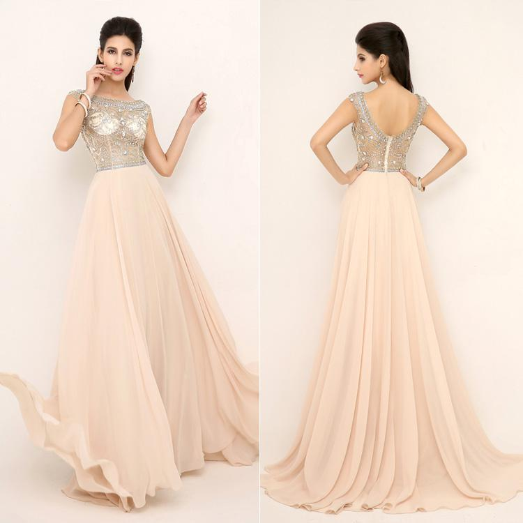 Buy 2014 new style in stock party dresses sheer crystal floor length chiffon sexy formal evening gowns beading hot real sample dress ssj aj006, $149.2