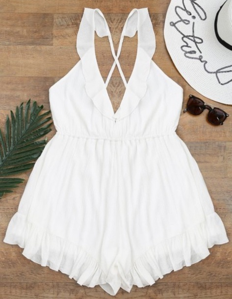 romper girly white backless