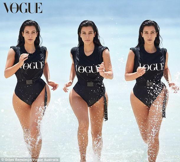swimwear black bikini kim kardashian vouge bodysuit