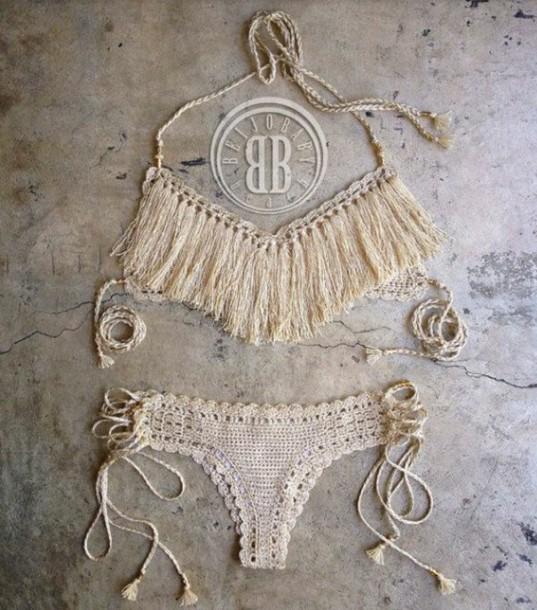 swimwear sand dollar bikini bikini girly outfits tumblr two-piece white bikini boho boho bikini white boho bikini crochet bikini cream tassel