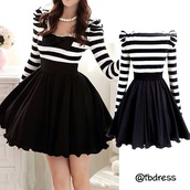 dress,black and white,stripes,tutu dress,everyday dress,cute dress