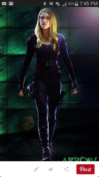 jumpsuit purple dress leather jacket leather pants blonde hair