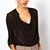 Black V Neck Long Sleeve Sheer Chiffon Blouse - Sheinside.com