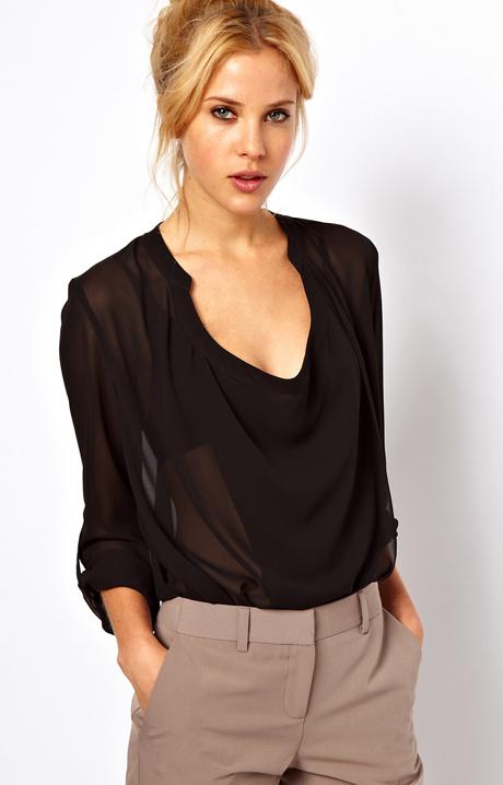 Black V Neck Long Sleeve Sheer Chiffon Blouse - Sheinside.com