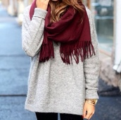 sweater,grey,fall outfits,winter sweater,cozy,tumblr,christmas,scarf,jewels,scarves,red,red scarf,white sweater,burgundy,long sweater,knitted sweater,grey sweater,oversized sweater,blouse,jumper,cute,cozy sweater,soft,big grey sweater,burgundy scarf,black leggings,shirt,watch,t-shirt,diamonds,office outfits,wedding dress,jack daniel's,oeeh,style,dark,dark red,bordo,herbst,dunkelrot