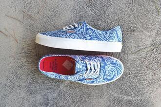 shoes vans sneakers blue paisley