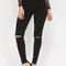 Stylish simplicity slit jeggings black white olive grey khaki peach - gojane.com