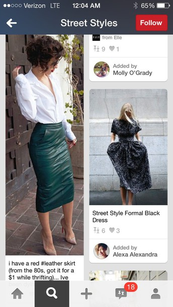 skirt green leather skirt