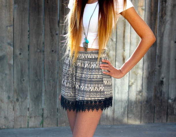 Shorts: aztec, tribal pattern, high waisted shorts, lace hem ...