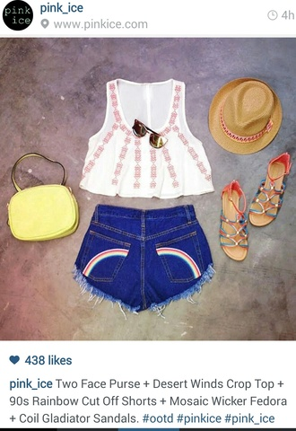 shorts bag tote bag high rise shorts rainbow sandals fedora sunnies sunglasses crop tops boho top boho bohemian high waisted shorts gladiators shoes tank top hat