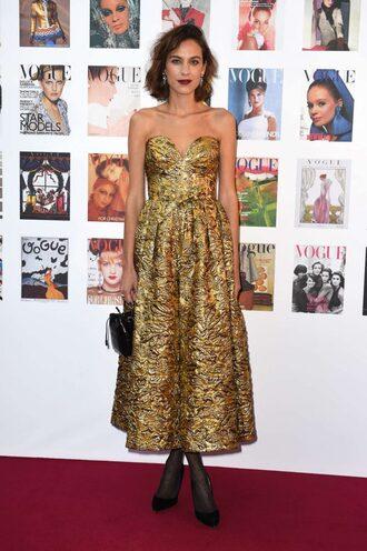 jacket bustier bustier dress midi dress alexa chung strapless gown prom dress gold gold dress dress