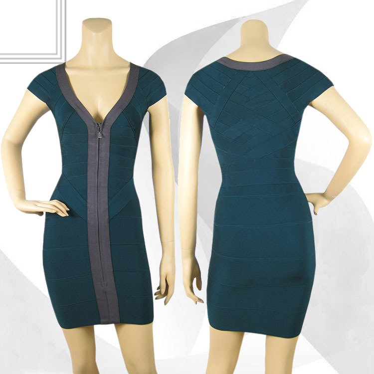Deja Boutique. Irma green zip front bandage dress