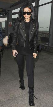 shoes,black leather jacket,sunglasses,black leggings,combat boots,blogger
