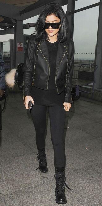 shoes black leather jacket sunglasses black leggings combat boots blogger