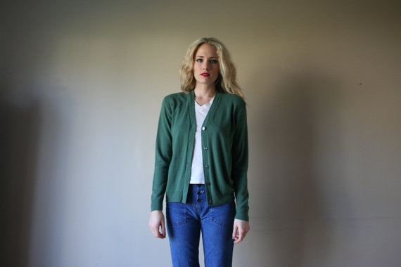 60s green cardigan small knit sweater long by closetcasevntg
