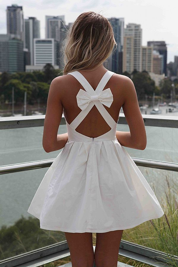 White Sleeveless Mini Dress with Open Cross Bow Back