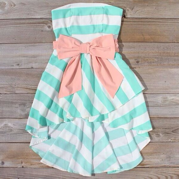 dress pink ribbon cute dress beach dress stripe dress summer dress bluew sky blue dress daisy blue small dress strapless high low with a bow belt