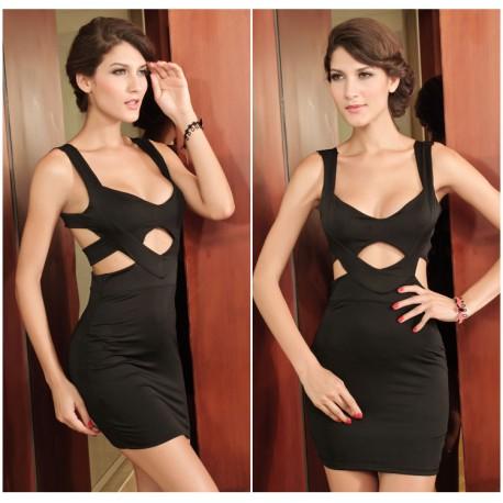 Black Hollow Cut Out Club Wear Women Sexy Dress lml6049 - lol-malls - Trustful Online Shopping for Women Dresses