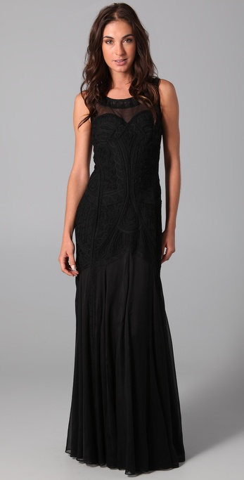 Temperley london long fan lace dress