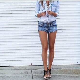 blouse shirt denim blue chambray light long sleeves button  up jeans trendyish