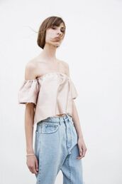 top,blush pink,pink top,silk,silk top,spring top,light blue jeans,jeans,boyfriend jeans,spring outfits,peasant top,off the shoulder,off the shoulder top