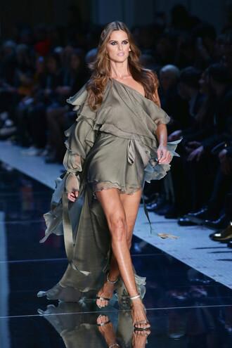 dress one shoulder runway model haute couture fashion week 2016 sandals asymmetrical dress izabel goulart