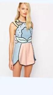 dress,colorful,block,trompe l'oeil,panel,pastel,scalloped,hem,mini