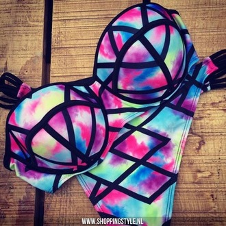swimwear tie dye swimwear tie dye bikini triangle bikini triangl colourful bikini pretty pink black blue purple rainbow multicolor colorful strapless pattern bra beach hipster bikini sexy bikini neon cute musthave
