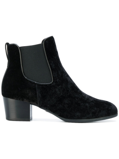 Hogan women ankle boots leather black velvet shoes