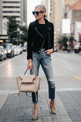 fashionjackson blogger jacket sweater jeans shoes bag sunglasses fall outfits handbag black jacket tumblr denim blue jeans cropped jeans ripped jeans nude bag