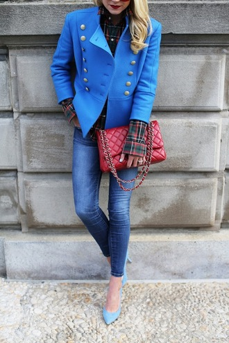 atlantic pacific blogger double breasted blue jacket royal blue military style red bag quilted bag skinny jeans