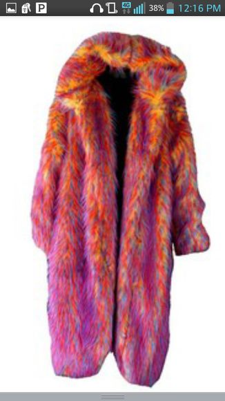 multicolor coat multicolored fur faux fur coat
