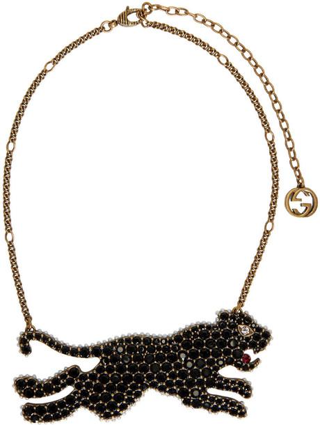 tiger necklace gold black jewels