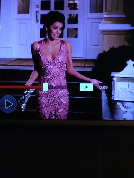desperate housewives dress gabrielle solis eva longoria pink dress pink pattern gown long prom dresses