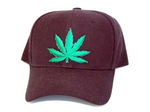 Black marijuana leaf hat cap