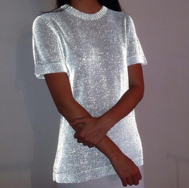 de7e92971dcd sweater, shirt, vouge silver, silver, top, blouse, white t-shirt ...