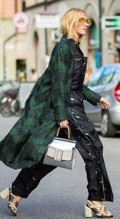 coat,padded printed coat,printed coat,green coat,streetstyle,fall outfits,gucci,gucci shoes,gold sandals,sandals,sandal heels,pants,printed pants,shirt,matching set