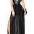 Panel PU V-neck Split Chiffon Hem Black Maxi Dress | Pariscoming