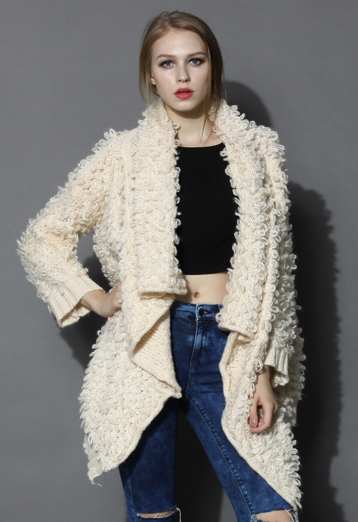 Oversized Beige Shaggy Coat with Waterfall Drape - Retro, Indie and Unique Fashion