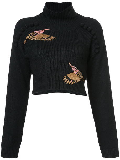 Patbo sweater cropped sweater embroidered cropped women black