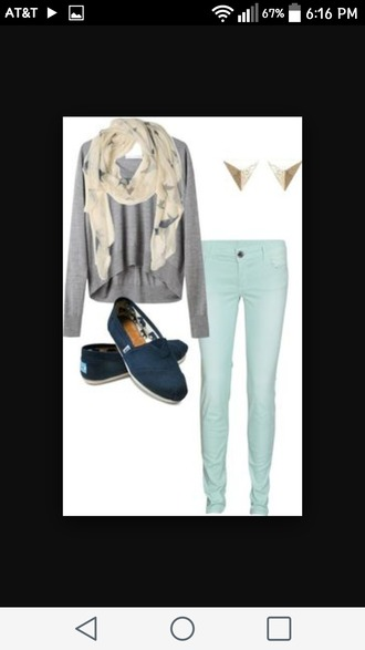 scarf shirt jeans toms cute adorable outfit colorful jeans skinny jeans highlowsweater