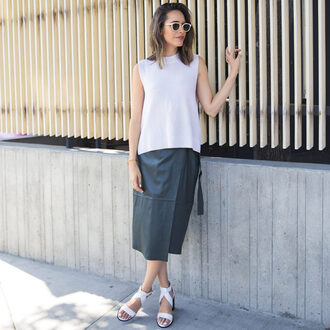 louise roe blogger sweater skirt jewels shoes white top sleeveless top sunglasses white sunglasses leather skirt black skirt wrap skirt sandals white sandals
