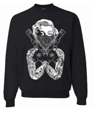 marilyn monroe sweater sweatshirt gangsta gun