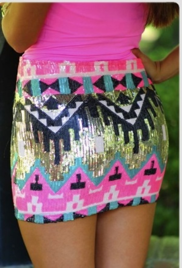 skirt aztec pencil skirt sequins pink colorful tribal skirt shirt tribal pattern summer outfits