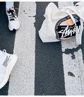 bag,tote bag,white,stussy,logo