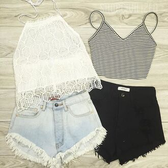tank top lace lace tank top stripes crop tops shorts denim shorts