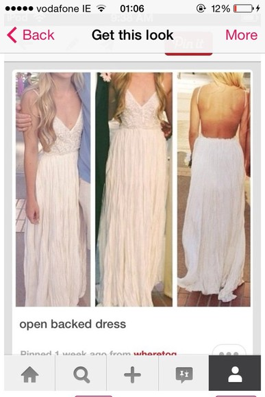 dress white dress long prom dresses summer dress bohemian dress ivory lace dress backless dress