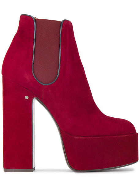 LAURENCE DACADE women chelsea boots leather suede red shoes