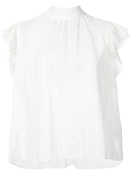 Ulla Johnson - ruffled top - women - Silk - 6, White, Silk